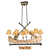 Rustic Personalized Canoe Eight Light Oval Chandelier - Meyda 26965