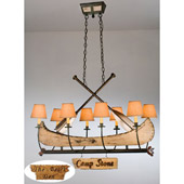 Rustic Personalized Canoe Eight Light Oval Chandelier - Meyda 26977