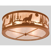Rustic Northwoods Wolf On The Loose Flush Mount Ceiling Fixture - Meyda 26987