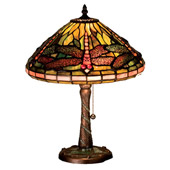 Tiffany Dragonfly W/ Twisted Fly Mosaic Base Accent Lamp - Meyda 27158