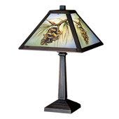Rustic Northwoods Pinecone Hand Painted Accent Lamp - Meyda 27498