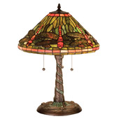 Tiffany Dragonfly W/ Twisted Fly Mosaic Base Table Lamp - Meyda 27812