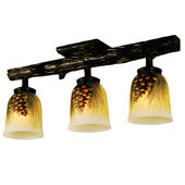 Rustic Northwoods Pinecone Hand Painted Semi-Flush Ceiling Fixture - Meyda 34470