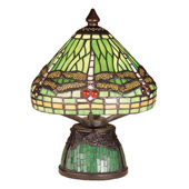 Tiffany Dragonfly W/Tiffany Mosaic Base Mini Lamp - Meyda 47609