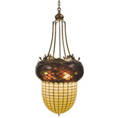 Rustic Acorn & Oak Leaves Inverted Chandelier - Meyda Tiffany 47612