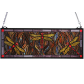 Tiffany Dragonfly Trio Stained Glass Window - Meyda 48091