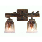 Rustic Northwoods Pinecone Hand Painted Wall Sconce - Meyda 49521