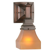 Craftsman/Mission Bungalow Frosted Amber Wall Sconce - Meyda 50357