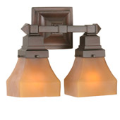 Craftsman/Mission Bungalow Frosted Amber Wall Sconce - Meyda 50361