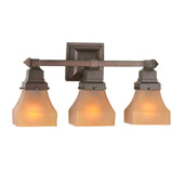 Craftsman/Mission Bungalow Frosted Amber Vanity Light - Meyda 50362