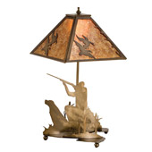 Rustic Quail Hunter with M3503Dog Table Lamp - Meyda 50402