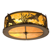 Rustic Ducks In Flight Flush Mount Ceiling Fixture - Meyda 51239