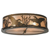 Rustic Ducks In Flight Flush Mount Ceiling Fixture - Meyda 51500