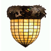 Rustic Acorn & Oak Leaves Wall Sconce - Meyda Tiffany 51852