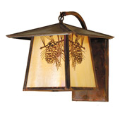 Rustic Winter Pine Stillwater Curved Arm Wall Sconce - Meyda 54878