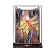 Tiffany Dragonfly Lighted Mini Tabletop Window - Meyda Tiffany 56831