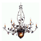 Rustic Acorn & Oak Leaves Nine Light Chandelier - Meyda Tiffany 69619