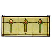 Craftsman/Mission Arts & Crafts Bud Trio Stained Glass Window - Meyda 71309