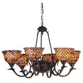 Tiffany Fishscale Six Light Chandelier - Meyda Tiffany 74043