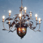Rustic Acorn & Oak Leaves Nine Light Chandelier - Meyda Tiffany 79860