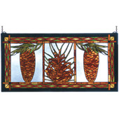 Rustic Northwoods Pinecone Stained Glass Window - Meyda Tiffany 81470