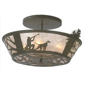 Rustic Quail Hunter With Dog Flush Mount Ceiling Fixture - Meyda 81915