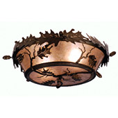 Rustic Acorn & Oak Leaf Flush Mount Ceiling Fixture - Meyda Tiffany 82070