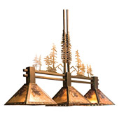 Rustic Winter Pine Tall Pines Island Light - Meyda 82171