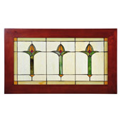Craftsman/Mission Arts & Crafts Bud Trio Wood Frame Stained Glass Window - Meyda 97961