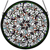 Tiffany Dragonfly Swirl Medallion Stained Glass Window - Meyda 98951