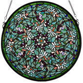 Tiffany Dragonfly Swirl Medallion Stained Glass Window - Meyda 98956