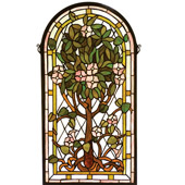 Tiffany Tree Of Life Arched Stained Glass Window - Meyda 99049