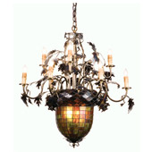 Rustic Acorn & Oak Leaves Nine Light Chandelier - Meyda Tiffany 99238