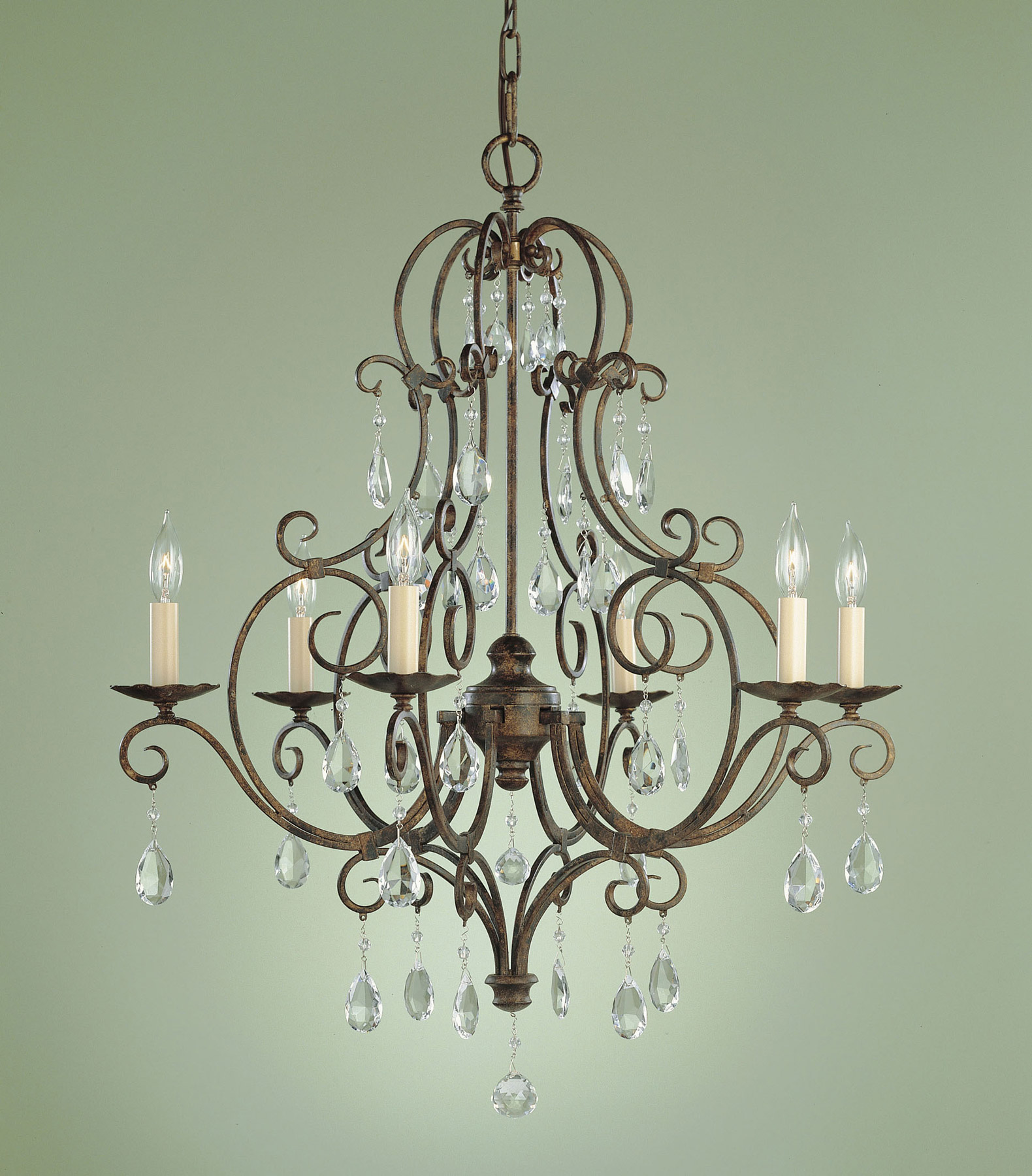 Murray Feiss Chandelier 6 Light: Murray Feiss F1902/6MBZ Crystal Chateau Six Light Chandelier