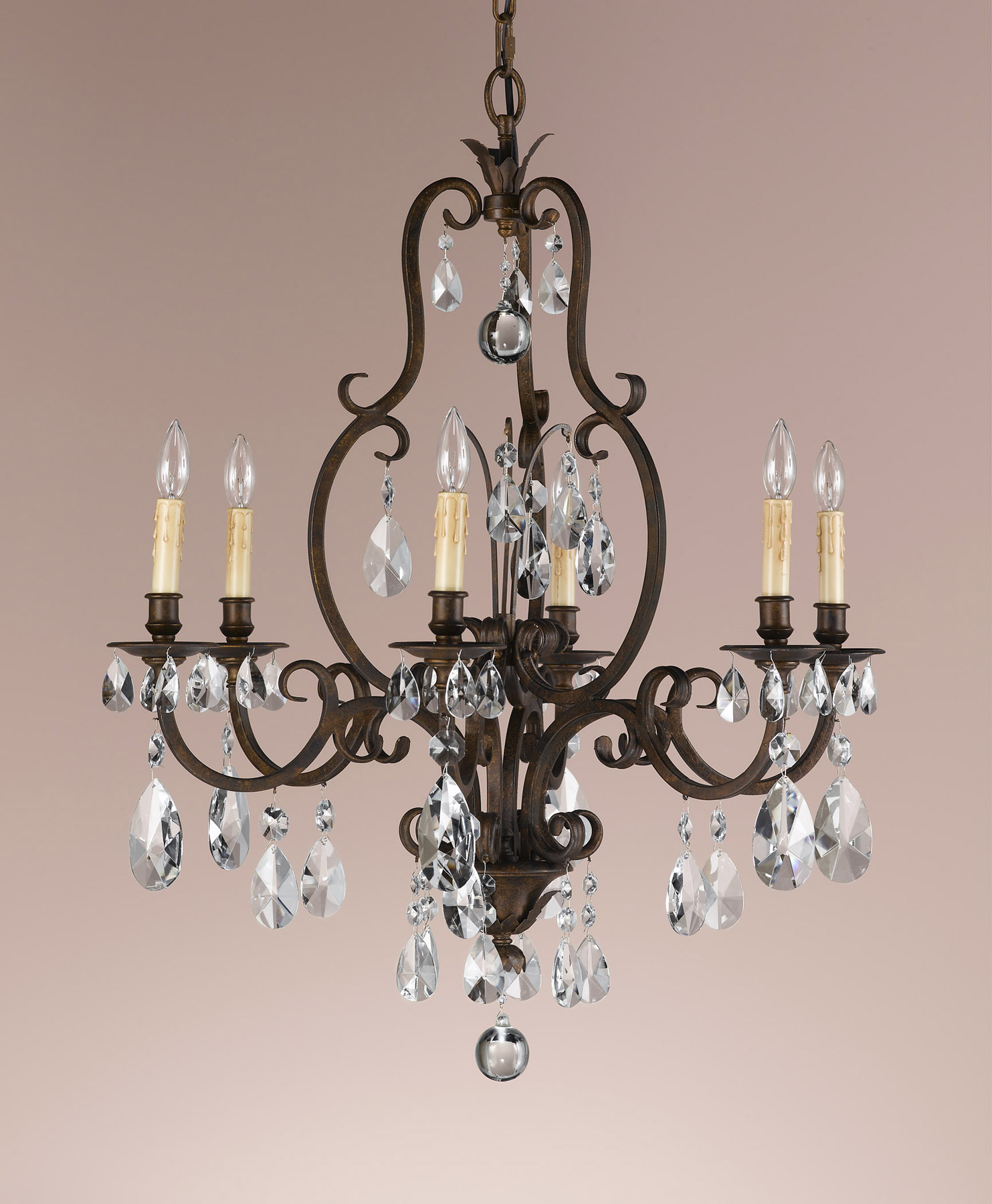 Feiss F22286ATS Crystal Salon Maison Six Light Chandelier