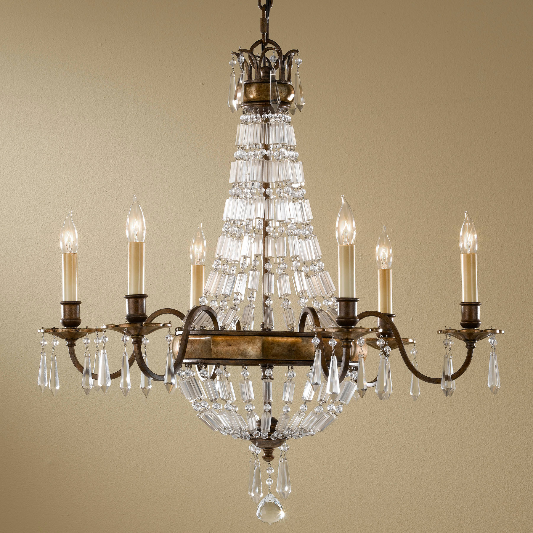 Murray feiss f24616obzbrb crystal bellini six light chandelier aloadofball Choice Image