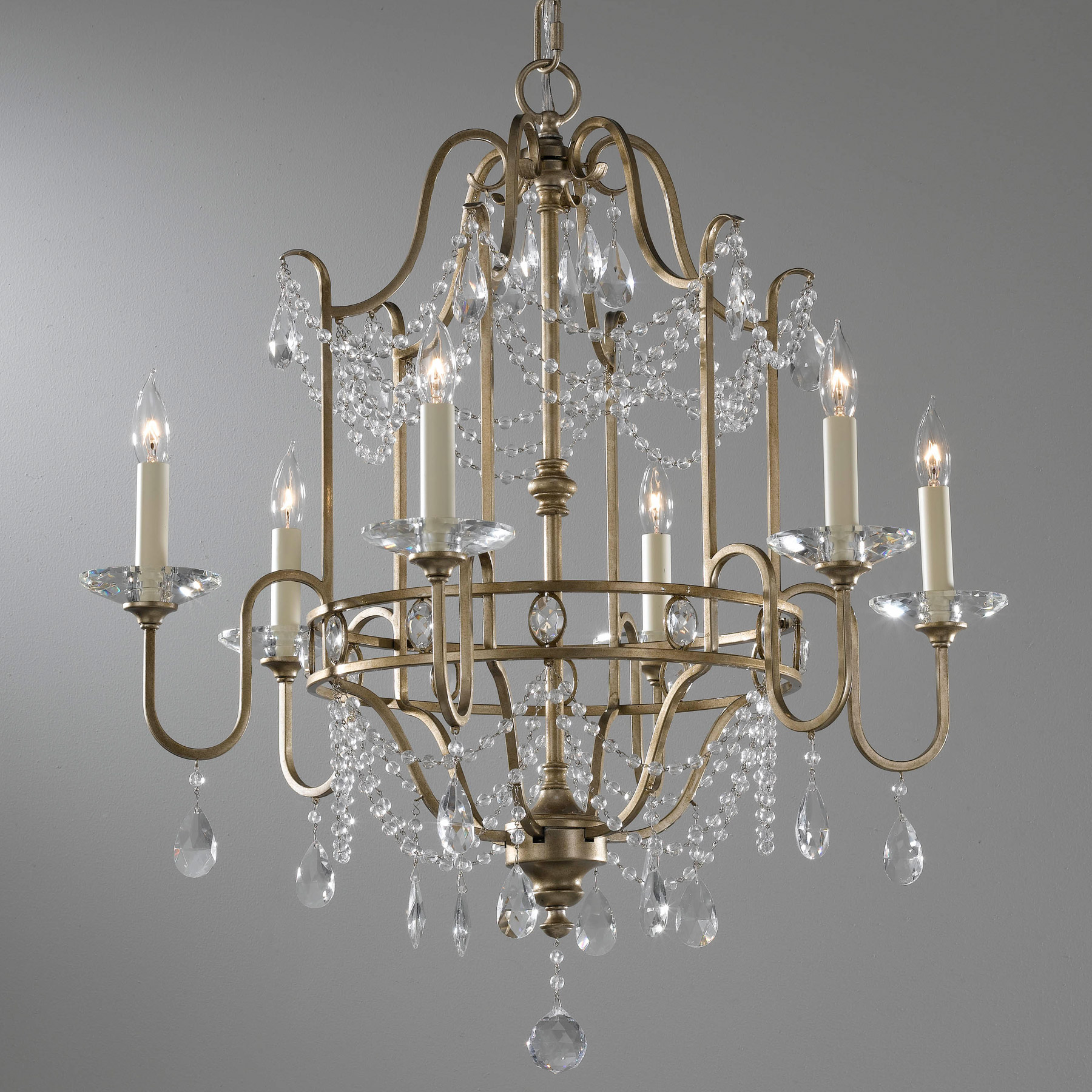 Murray Feiss F2475 6gs Crystal Gianna Six Light Chandelier