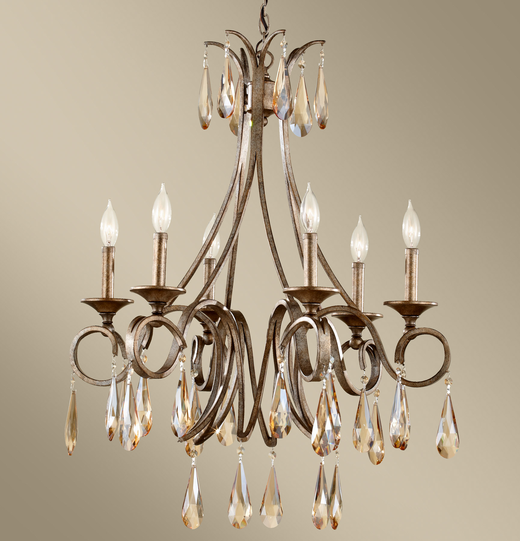 Feiss F2636 6GIS Crystal Reina Six Light Chandelier