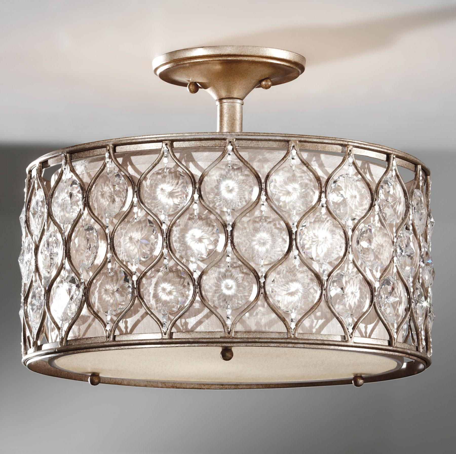 Feiss SF289BUS Crystal Lucia Semi Flush Ceiling Fixture