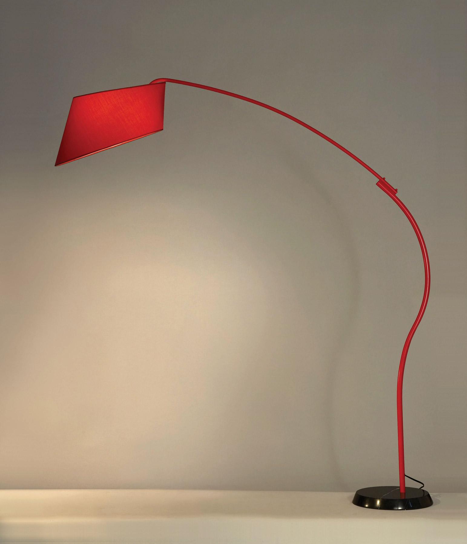 red floor lamp  ira design - nova lighting  ibis red arc floor lamp  lighting  ibis red arc floorlamp