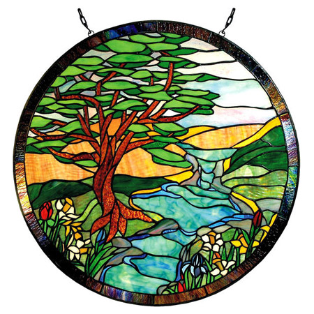 Paul Sahlin Tiffany 1305r Landscape Round Stained Glass Window Panel
