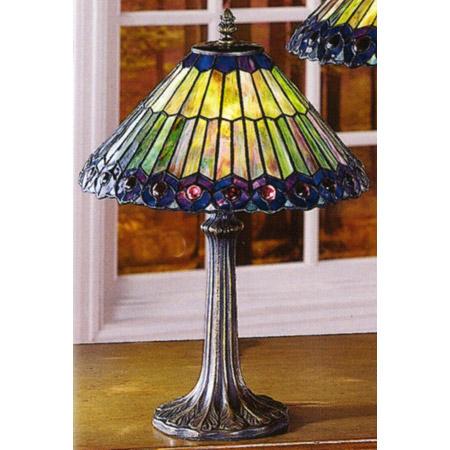 Paul Sahlin Tiffany 700 Purple Bordered Peacock Accent Lamp