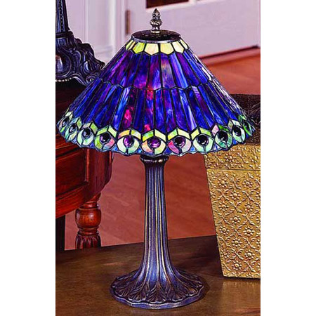 Paul Sahlin Tiffany 701 Tiffany Purple Peacock Table Lamp