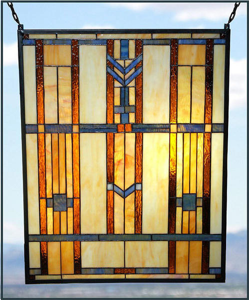 Paul Sahlin Tiffany 1662 Blue Chevron Stained Glass Window