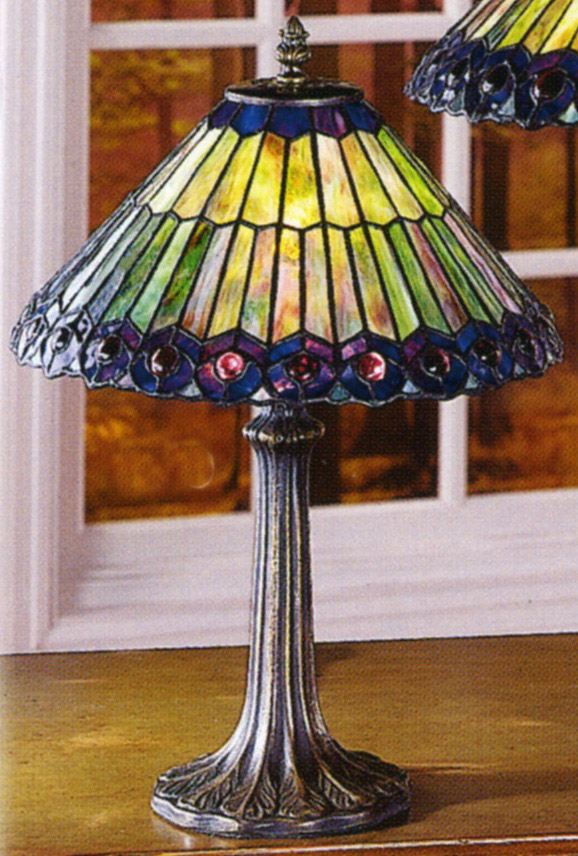 Paul Sahlin Tiffany 700 Purple Bordered Peacock Accent Lamp