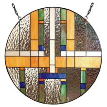 Paul Sahlin Tiffany 1386 Round Stained Glass Window Panel
