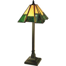 Paul Sahlin Tiffany 799 Green Bordered Buffet Table Lamp
