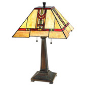 Craftsman/Mission Red Chevron Table Lamp - Paul Sahlin Tiffany 1587