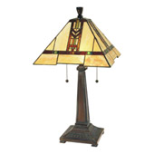 Craftsman/Mission Red Chevron Table Lamp - Paul Sahlin Tiffany 1593