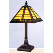 Craftsman/Mission Amber-Green Horizontal Lines Accent Lamp - Paul Sahlin Tiffany 976-2